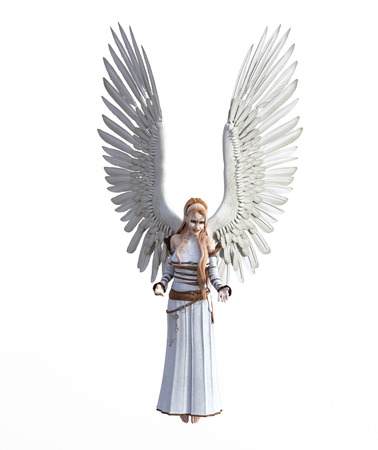 3D illustration of a female angel
