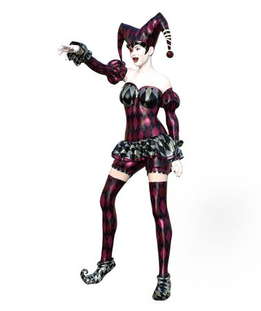 3D Illustration of a sexy female clown and jester with painted face