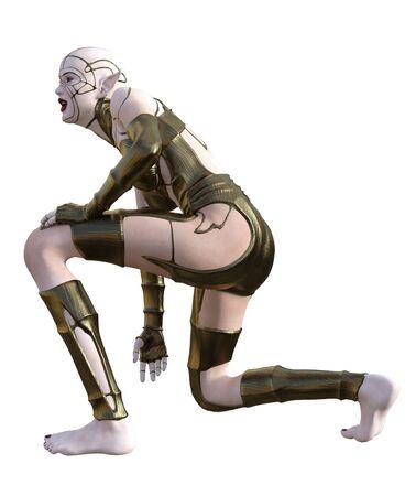 3D Illustration of a female elf warrior