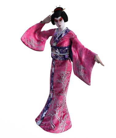 3D Illustration of a Japanese geisha with kimono 写真素材