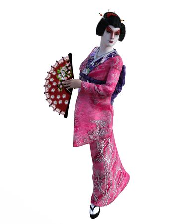 3D Illustration of a Japanese geisha with kimono Banque d'images - 125217990