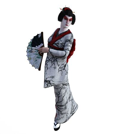 3D Illustration of a Japanese geisha with kimono Banque d'images - 125217993