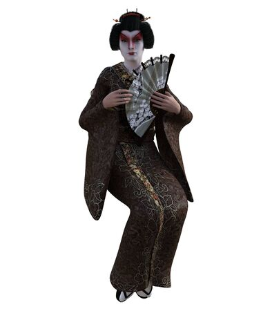 3D Illustration of a Japanese geisha with kimono Banque d'images - 125218005