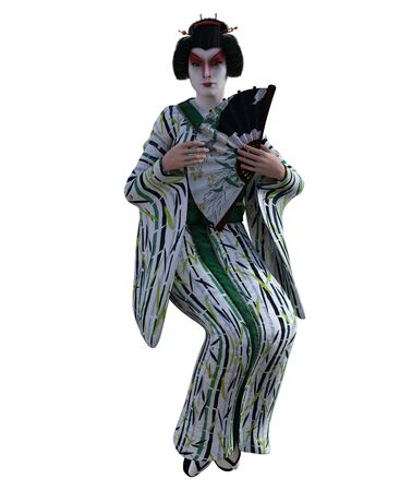 3D Illustration of a Japanese geisha with kimono Banque d'images - 125218006