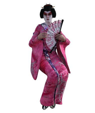 3D Illustration of a Japanese geisha with kimono Banque d'images - 125218007