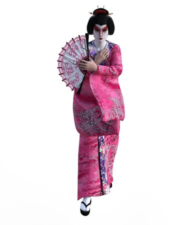 3D Illustration of a Japanese geisha with kimono Banque d'images - 125218009