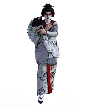 3D Illustration of a Japanese geisha with kimono Banque d'images - 125218013