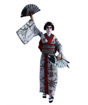 3D Illustration of a Japanese geisha with kimono Banque d'images - 125218017