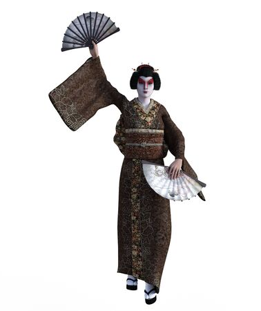 3D Illustration of a Japanese geisha with kimono Banque d'images - 125218066