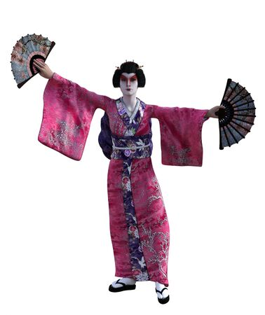 3D Illustration of a Japanese geisha with kimono Banque d'images - 125218068