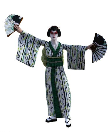 3D Illustration of a Japanese geisha with kimono Banque d'images - 125218070