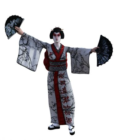 3D Illustration of a Japanese geisha with kimono Banque d'images - 125218072