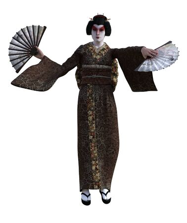 3D Illustration of a Japanese geisha with kimono Banque d'images - 125218074
