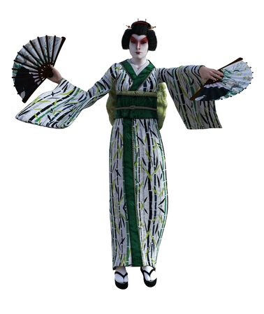 3D Illustration of a Japanese geisha with kimono Banque d'images - 125218076