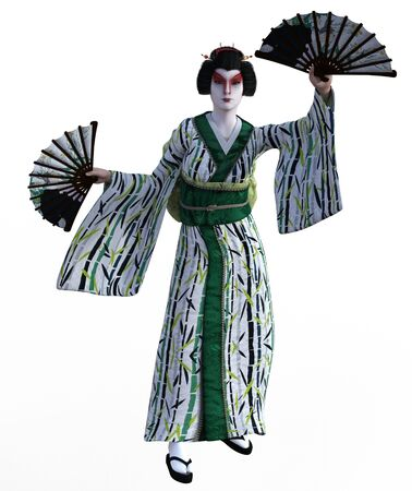 3D Illustration of a Japanese geisha with kimono Banque d'images - 125218079