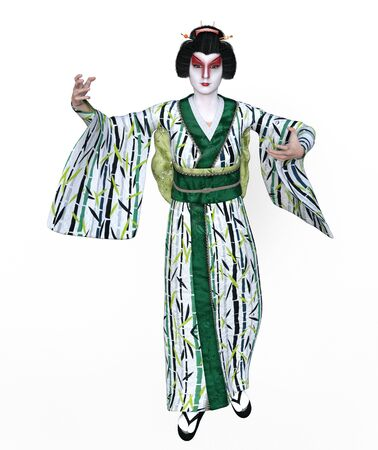 3D Illustration of a Japanese geisha with kimono Stok Fotoğraf