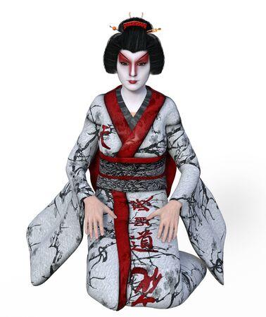 3D Illustration of a Japanese geisha with kimono Banco de Imagens