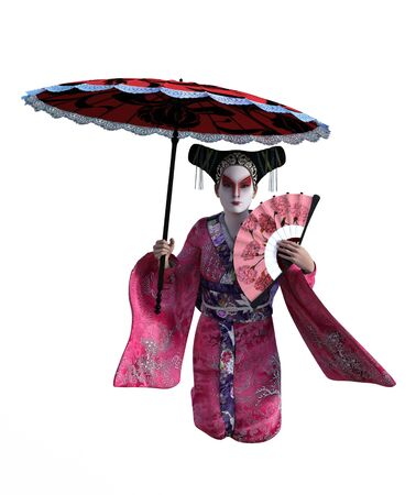 3D Illustration of a Japanese geisha with kimono and parasol