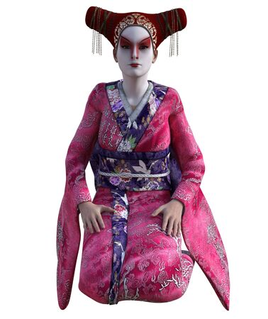 3D Illustration of a Japanese geisha with kimono Фото со стока