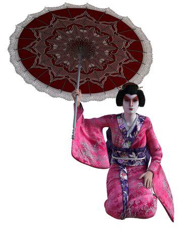 3D Illustration of a Japanese geisha with kimono and parasol