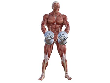 3D illustration of a muscle man posing and exercising with dumbbell for bodybuilding Banque d'images - 127835550