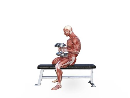 3D illustration of a muscle man posing and exercising with dumbbell for bodybuilding Banque d'images - 127835551