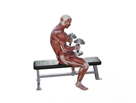 3D illustration of a muscle man posing and exercising with dumbbell for bodybuilding