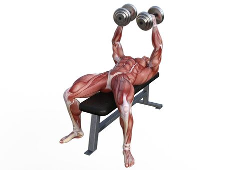 3D illustration of a muscle man posing and exercising with dumbbell for bodybuilding Banque d'images - 127835567