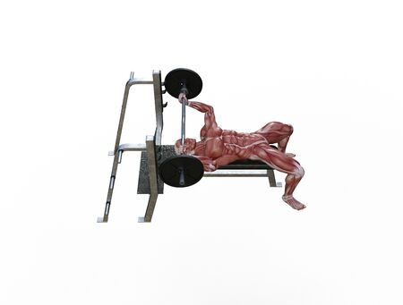 3D illustration of a muscle man posing and exercising with barbell for bodybuilding