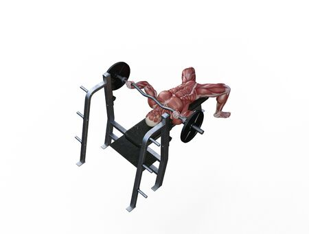 3D illustration of a muscle man posing and exercising with barbell for bodybuilding Banque d'images - 127835635