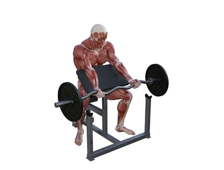 3D illustration of a muscle man posing and exercising with barbell for bodybuilding Banque d'images - 127835644