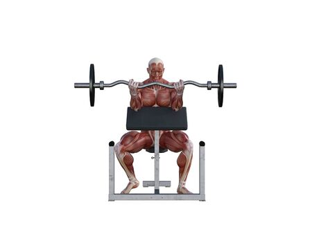 3D illustration of a muscle man posing and exercising with barbell for bodybuilding Banque d'images - 127835649
