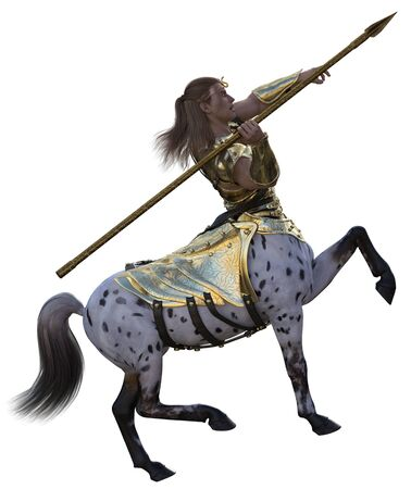 3D illustration of centaur with spear and armor