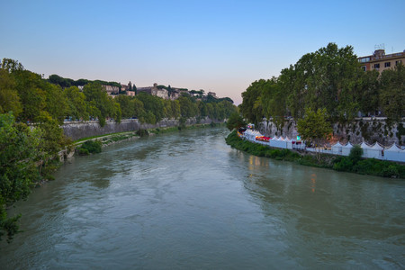 View of Tiber river from Ponte Palatino in Rome, Italy. Tiber river from English Bridge or Ponte Inglese Stock Photo