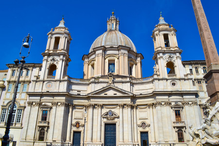 Sant'Agnese in Agone church from Piazza Navona, Rome, Italy.