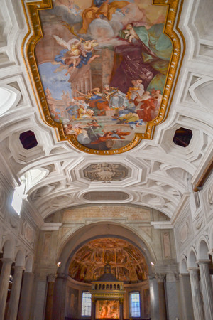 The Miracle of the Chains (18th century fresco) in the center of the coffered ceiling by Giovanni Battista Parodi in San Pietro in Vincoli (Church of Saint Peter in Chains, S. Petri ad vincula) in Rome, Italy