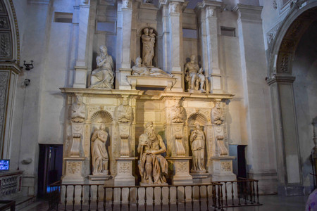 The Moses  statue by Michelangelo in San Pietro in Vincoli (Church of Saint Peter in Chains, S. Petri ad vincula) in Rome, Italy