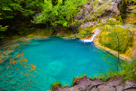 The source of Urederra or the route of the waterfalls of Baquedano, in Navarre, Spain.