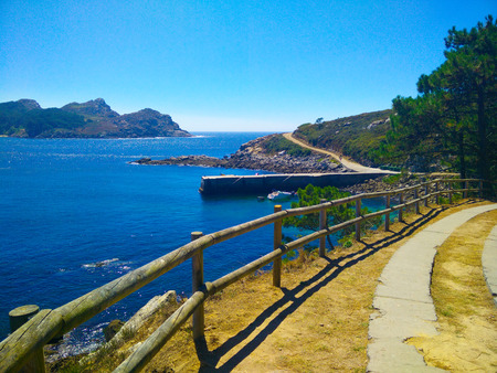 Way through Cies Islands, in Galicia, Spain, with views of sea and coast Stock Photo