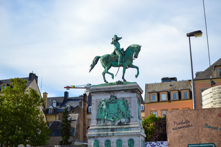 The equestrian statue of Grand Duke William II on the Place Guillaume II in Luxembourg City, Luxembourg Stock Photo