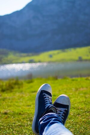 Vertical close-up of a blue and white pair of shoes relaxing on a green meadow with a defocused lake in the background Banque d'images