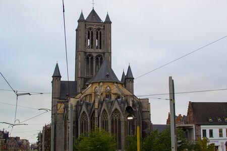 Facade of Saint Nicholas' Church (Sint-Niklaaskerk) in Ghent, Belgium, Europe