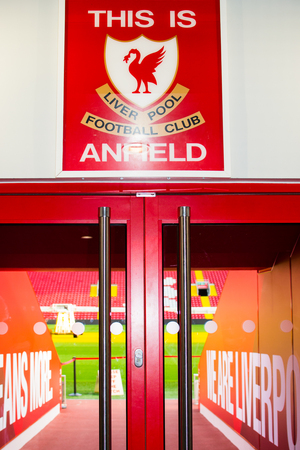 Liverpool, England, United Kingdom; 10152018: Famous hall or corridor inside of Anfield Stadium, with the quote This is Anfield and the new badge of Liverpool FC