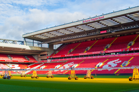 Liverpool, England, United Kingdom; 10152018: Empty red steps or terraces of Sir Kenny Dalglish Stand in Anfield, Liverpools FC Stadium, during a tour