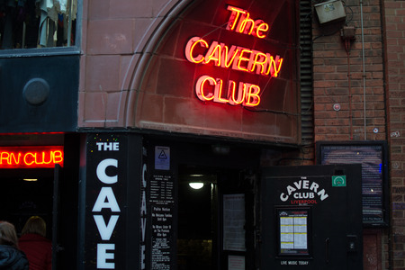 Liverpool, England, United Kingdom; 10152018: Entrance of The Cavern Club, the bar of the Beatles, with red neon lights Redakční
