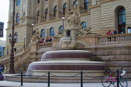 Prague's National Museum Fountain, the fountain located in front of the Main Building of the National Museum in Wenceslas Square, in Prague, Czech Republic