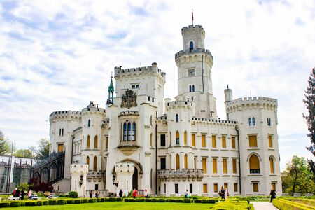 Facade of Hluboka Castle (Hluboka nad Vltavou Castle), also called The State Chateau of Hluboka, a neo-gothic castle in South Bohemia, in Czech Republic