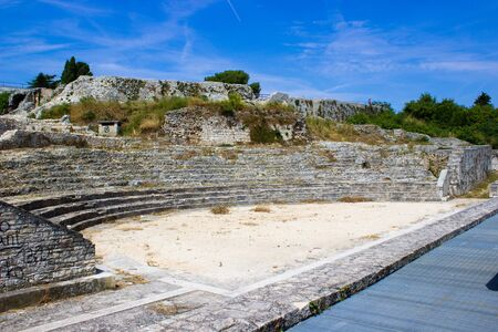 Remains of the Small Roman Theater within the city walls in Pula, Croatia