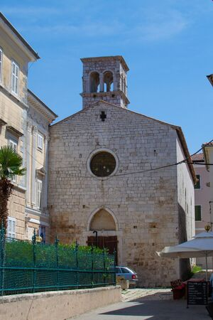 Facade of the Church of St. Francis in the old town of Porec (also called Parenzo), in Croatia