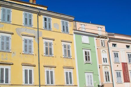 View of traditional colorful slovenian buildings in Tartini Square, in the old town of Piran, in Slovenia